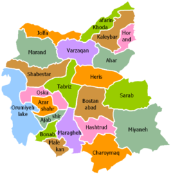 East Azerbaijan counties