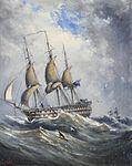 Ebenezer Colls - Man of War at sea.jpg