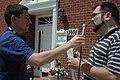 Ed Reggi, ShowMeNoHate, talks to a KBIA radio reporter outside Rep. Ike Skelton's Jefferson City office. (4709731050).jpg
