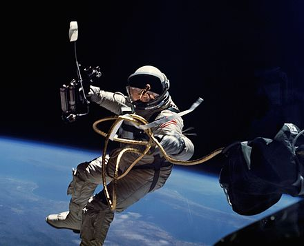 Ed White on Gemini 4: first US spacewalk, 1965 Ed White performs first U.S. spacewalk - GPN-2006-000025-crop.jpg