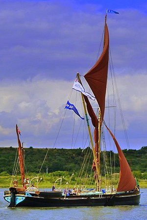 Thames sailing barge - Thames barge, Edith May, sailing on topsail alone on the River Medway