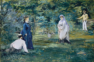 Edouard Manet - A Game of Croquet. Two ladies and two gentlemen in Victorian clothing playing a game of croquet. One lady is readying her mallet to hit a ball.