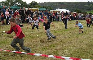 Egg-and-spoon race - Children participating in a typical egg-and-spoon race.