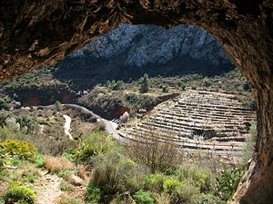 Rock art of the Iberian Mediterranean Basin - View from inside a cave, showing a typical setting in a narrow valley