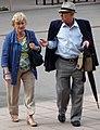 Elderly Couple in Plaza - Montserrat - Catalunya - Spain (14380171920).jpg