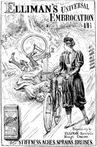 Реклама 1897 года. Велосипедистка изображена в шароварах.
