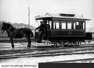 Spårvägsmuseet - Image: Enspand hastsparvagn, museivagn fran 1877