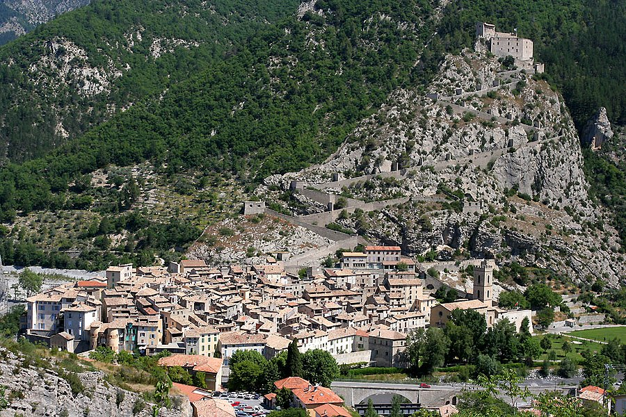The commune of Entrevaux in the Department of Alpes-de-Haute-Provence, France.