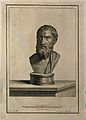 Epicurus. Line engraving by F. Copparoli after N. Vanni. Wellcome V0001777.jpg
