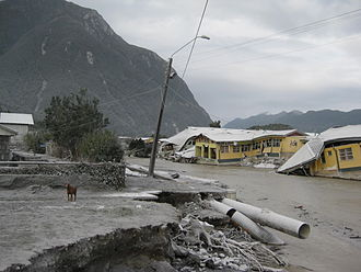 2008 in Chile - Destruction caused by the eruption of Chaitén Volcano.