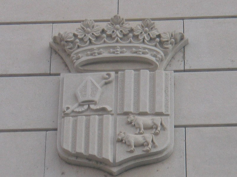 File:Escut d'andorra al Palau Episcopal d'Urgell.JPG