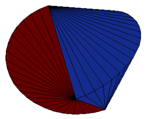 Sphericon - The sphericon as a ruled surface.The two identical bicone halves are marked in different colors.
