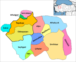 Location of İnönü, Eskişehir within Turkey.