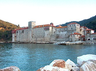View of Esphigmenou monastery façade from the nearby quay.