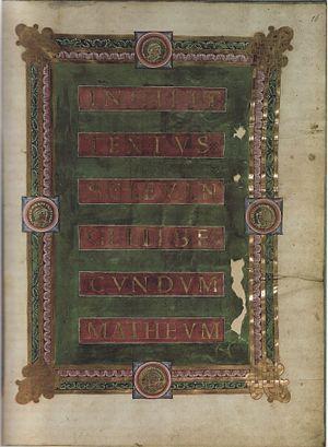 Sainte-Chapelle Gospels - Title page of Saint Matthew's Gospel, recto of folio 16.