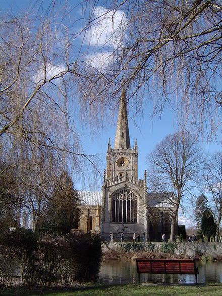 Holy Trinity Church, Stratford upon Avon, where Thomas was married. View from the opposite bank of the River Avon. Exterior of Holy Trinity Church in Stratford-upon-Avon.jpg
