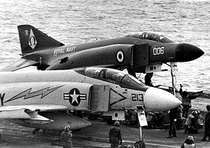 F-4J VF-33 and F-4K 892 NAS on USS Independence (CVA-62) 1971.jpg