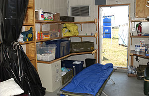 Aid station - A temporary Federal Emergency Management Agency aid station.