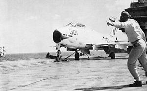 FJ-4B VA-146 on cat of USS Oriskany (CVA-34) 1960.jpg