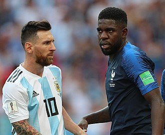 Samuel Umtiti - Umtiti defending against Argentina's Lionel Messi, his Barcelona teammate, at the 2018 FIFA World Cup