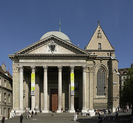 Calvin preached at St. Pierre Cathedral, the main church in Geneva. Facade de la cathedrale Saint-Pierre de Geneve.jpg