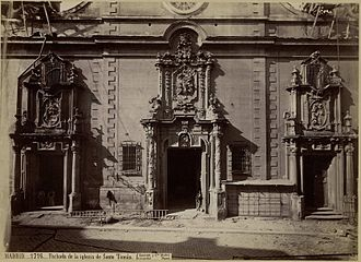 Convento de Santo Tomás (Madrid) - Photograph of the facade of the church, J. Laurent (c. 1870.); National Library of Spain.