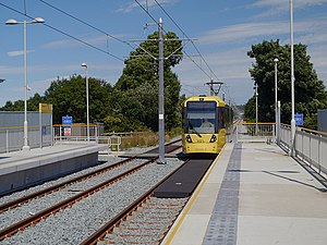Failsworth tram stop - A tram approaching Failsworth tram stop