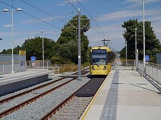 Failsworth tram stop - A tram approaching Failsworth tram stop