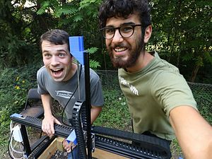 FarmBot - FarmBot creators Rick Carlino (left) and Rory Aronson (right) building a FarmBot in Chicago, Illinois
