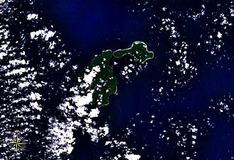 Ambitle - Feni Islands seen from space, with Ambitle (left) and Babase (right).