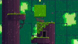 A dark forest level with light peeking through the offscreen foliage. Gomez climbs greenery on the side of a central tree-like tower. A tree to the left extends off both the top and bottom of the screen. The platforms are lined with grass.