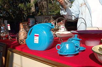 Fiesta (dinnerware) - Fiesta ware being sold at a charity fundraiser.
