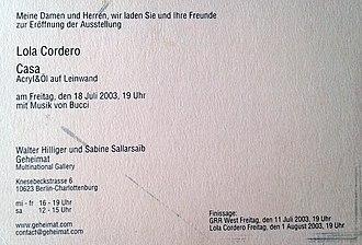 Vernissage - Geheimat Multinational Gallery, Berlin-Charlottenburg – Finissage, 2003.
