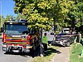 Fire truck attending to a single-vehicle accident Fairfield, Queensland, 2019.jpg