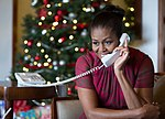 First Lady Michelle Obama during NORAD Tracks Santa 2016 (31813982566).jpg