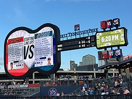A giant guitar-shaped scoreboard behind the right field fence displays the starting lineup for players competing in the game, the game's line score, and the time.