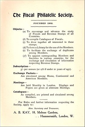Fiscal Philatelic Society - An advert for the society from a 1908 catalogue