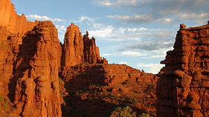 Fisher Towers at sunset.JPG