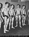Fisicoculturismo argentino AFCA .HORACIO PATRONE 4º lugar Torneo Mr LITORAL 1968 (Mr de Misters) en categoria junior (menores de 21 años ) .altura 1,85 mts peso 85 kilos.fotografia solo de un sector de los atletas en la preseleccion.jpg