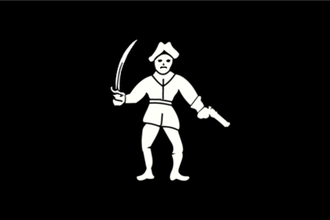 "Philip Lyne - Flag (Jolly Roger) of pirate Philip Lyne, described as ""a black silk flagg ... with the representation of a man in full proportion, with a cutlass in one hand and a pistol in the other, extended"""