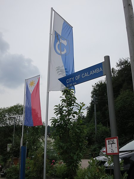 File:Flag of the Philippines and Wilhelmsfeld and distance marker to Calamba City.jpg