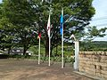 Flags in front of the Naruto German House.JPG
