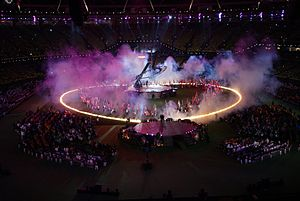 2012 Summer Paralympics closing ceremony - Flags of the nations in a heart shape.