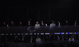 2012 Summer Paralympics opening ceremony - The Queen (centre right) and Sir Philip Craven (centre left) arrive.