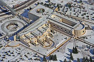 Supreme Court of Israel - An aerial photo of the Supreme Court building covered with snow