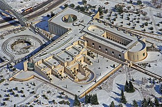 Supreme Court of Israel - An aerial photo of the Supreme Court building covered in snow
