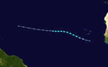 Track of weak tropical storm over the central Atlantic