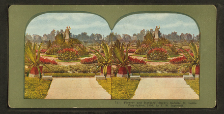 Stereoscopic view of statuary and flowers at Shaw's Garden by Truman Ward Ingersoll Flowers and statuary, Shaw's Garden, St. Louis, by Ingersoll, T. W. (Truman Ward), 1862-1922.png
