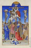 Le Christ, entouré des larrons, descendu de la croix, la Vierge et saint Jean au pied