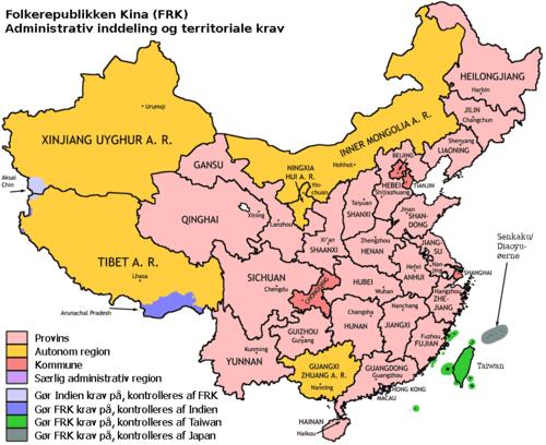 Den politiske opdeling af Folkerepublikken Kina